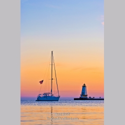 Ludington North Pier and Sailboat (5574)