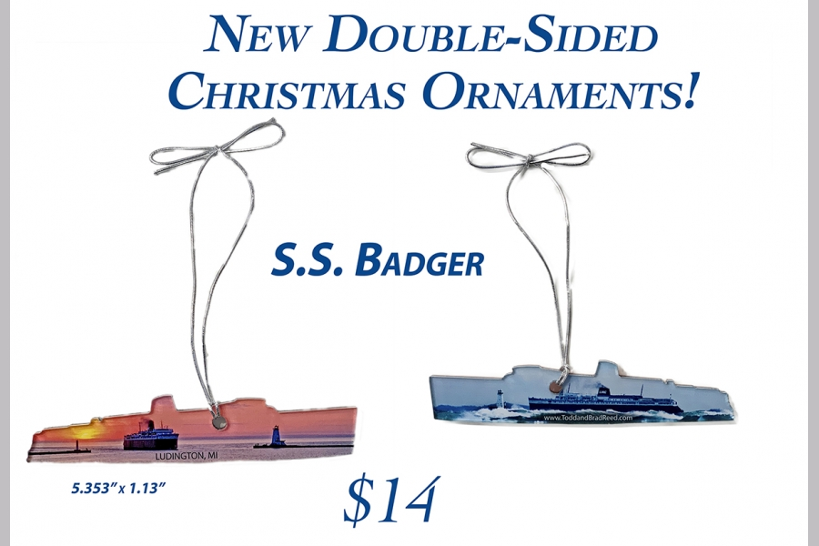 Double-Sided Christmas Ornament of the SS Badger